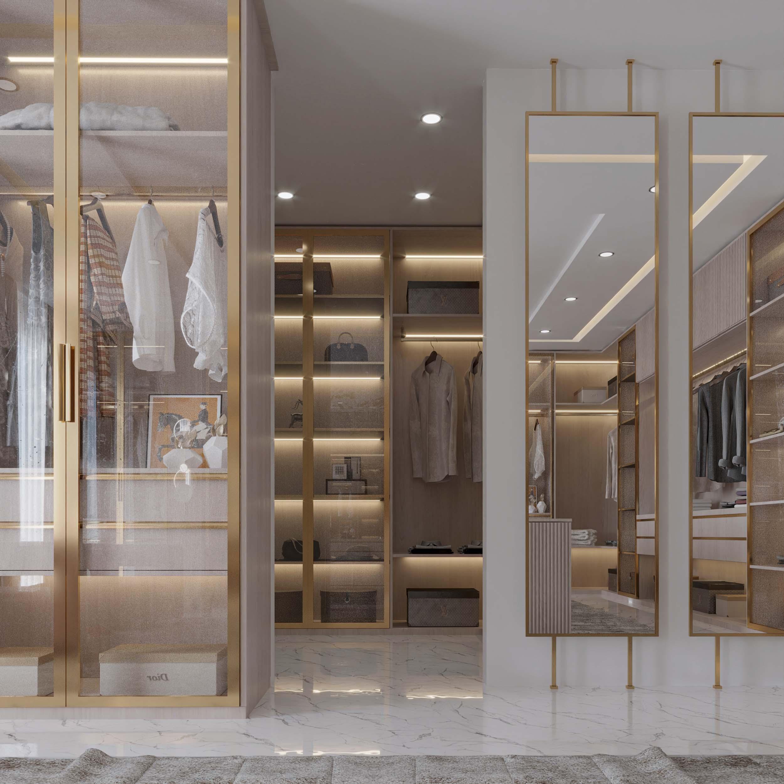shelves design - golden sharp details