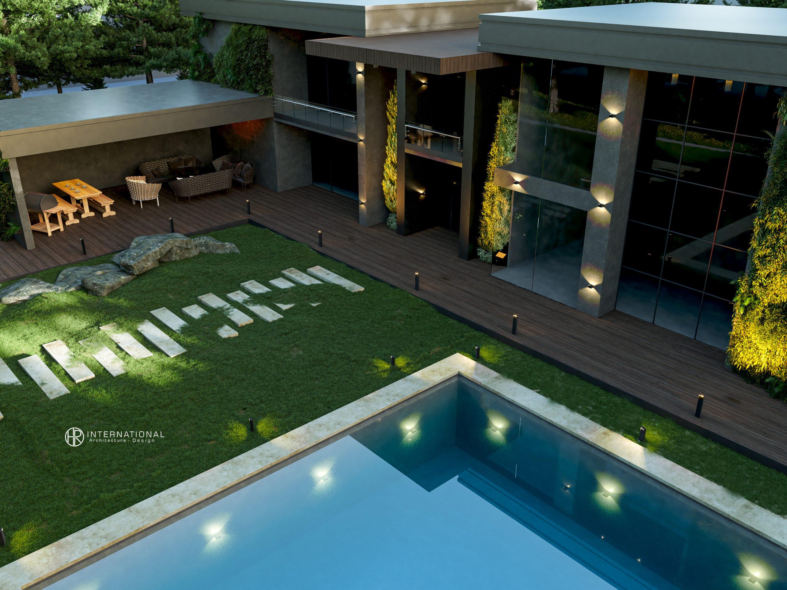 FOREST VILLA EXTERIOR DESIGN - swimming pool - top view - grass - villa design - HRarchZ