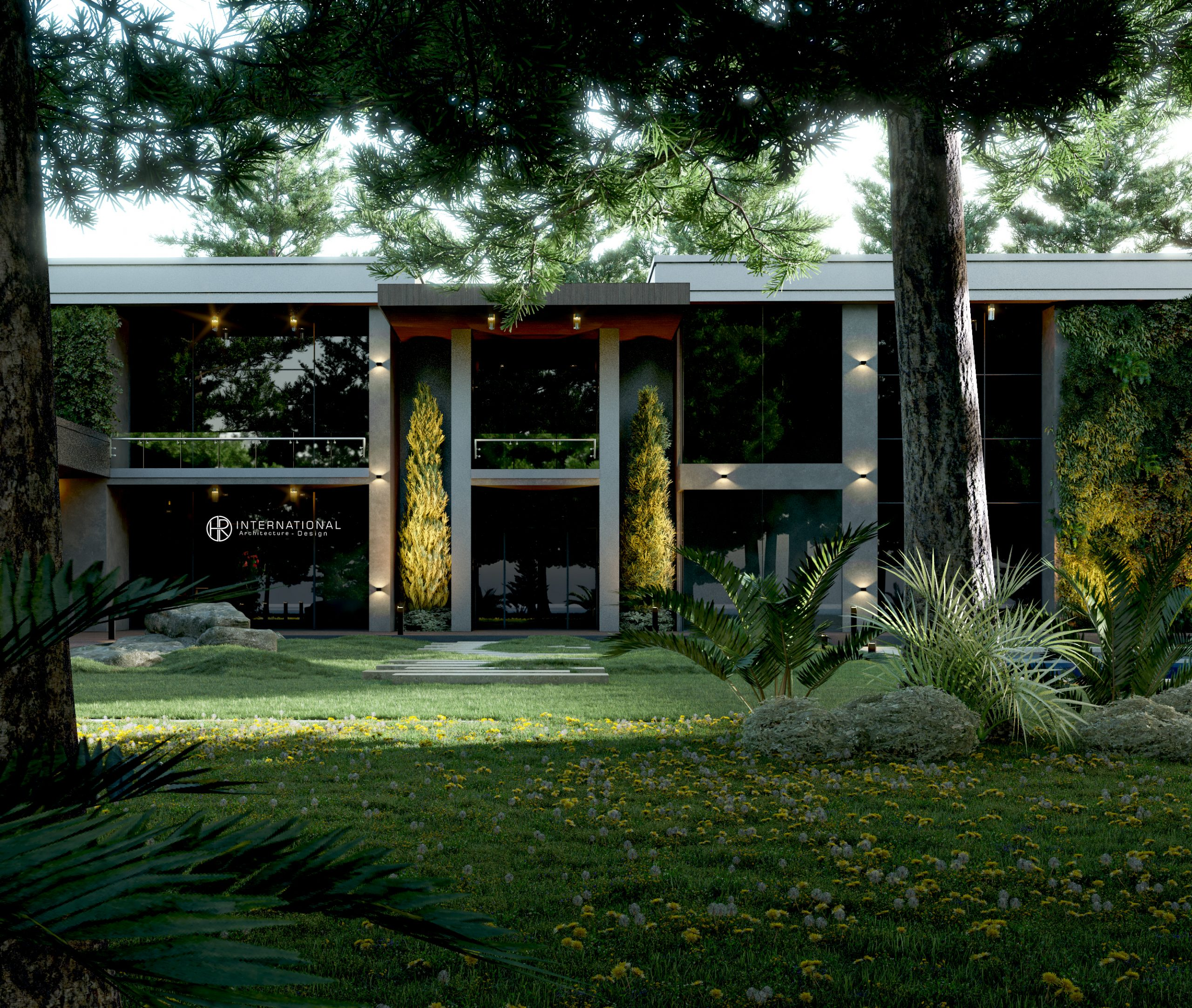 landscape - trees - villa - sun light