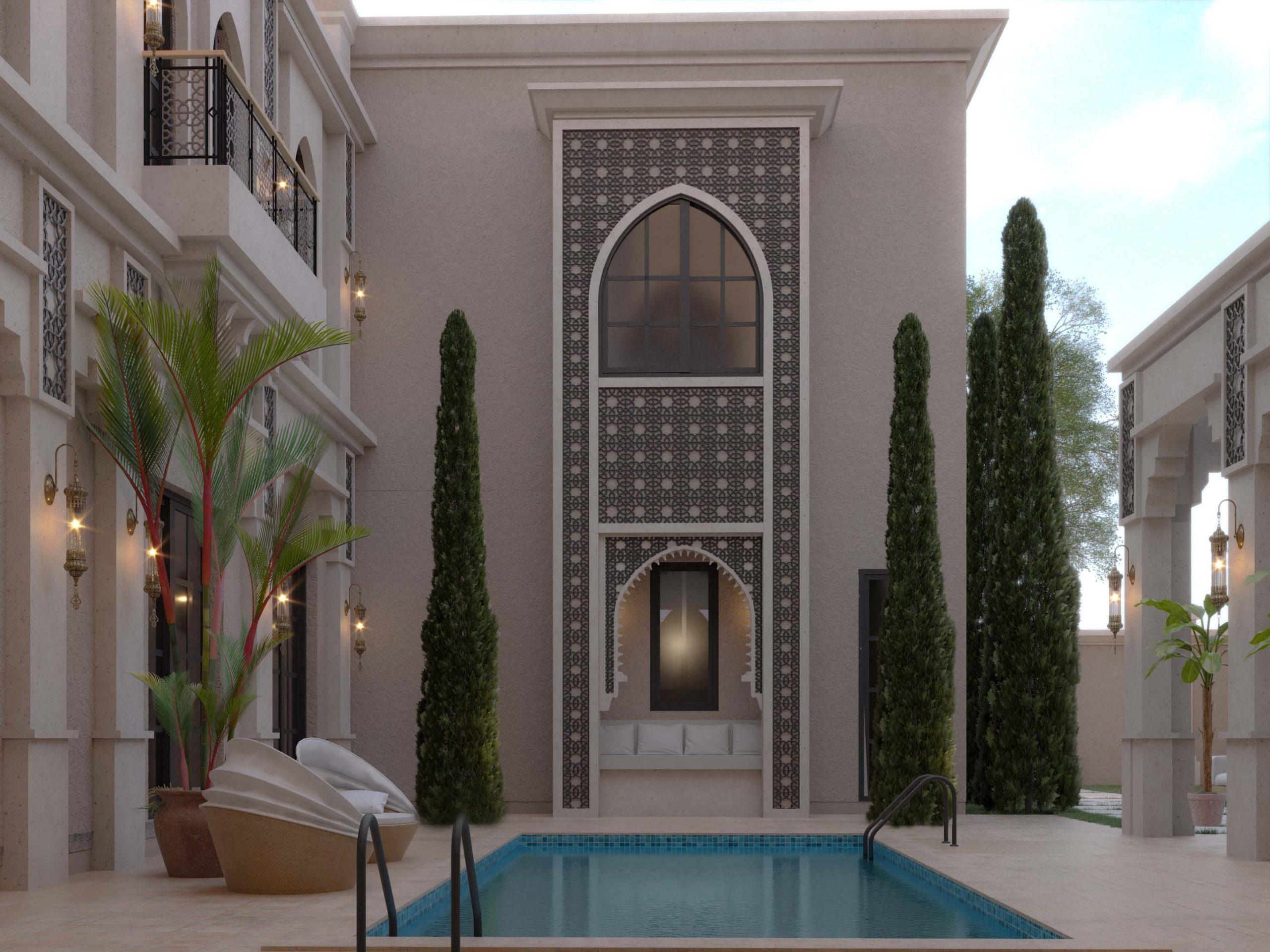 ISLAMIC STYLE VILLA - decoration - design - swimming pool - trees - great