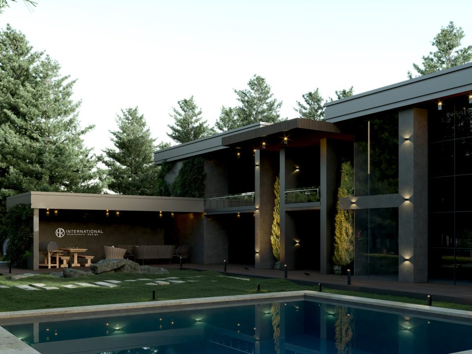 FOREST VILLA EXTERIOR DESIGN - concrete - wood - swimming pool - forest
