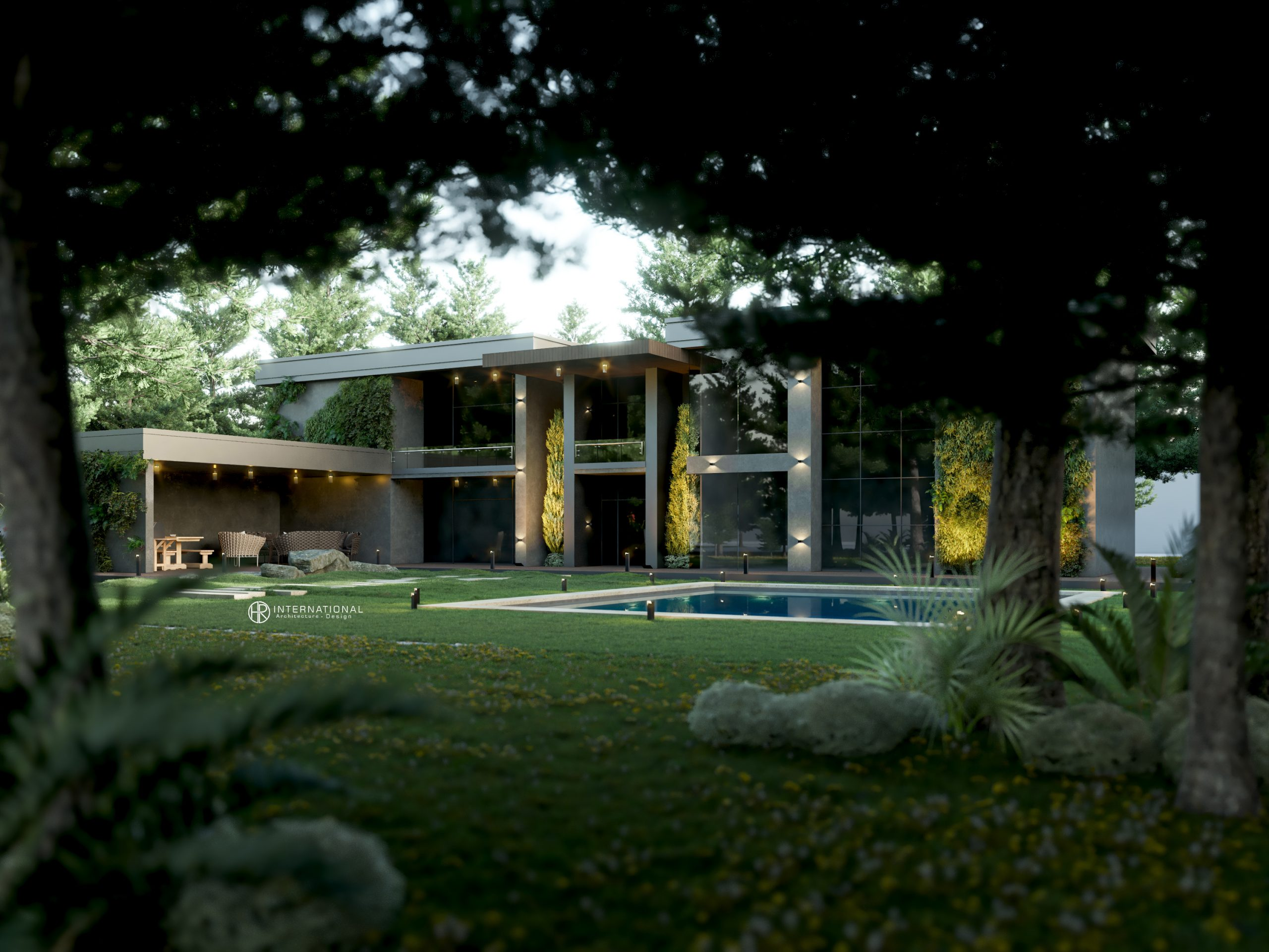 trees - nature - swimming pool - render - out shot