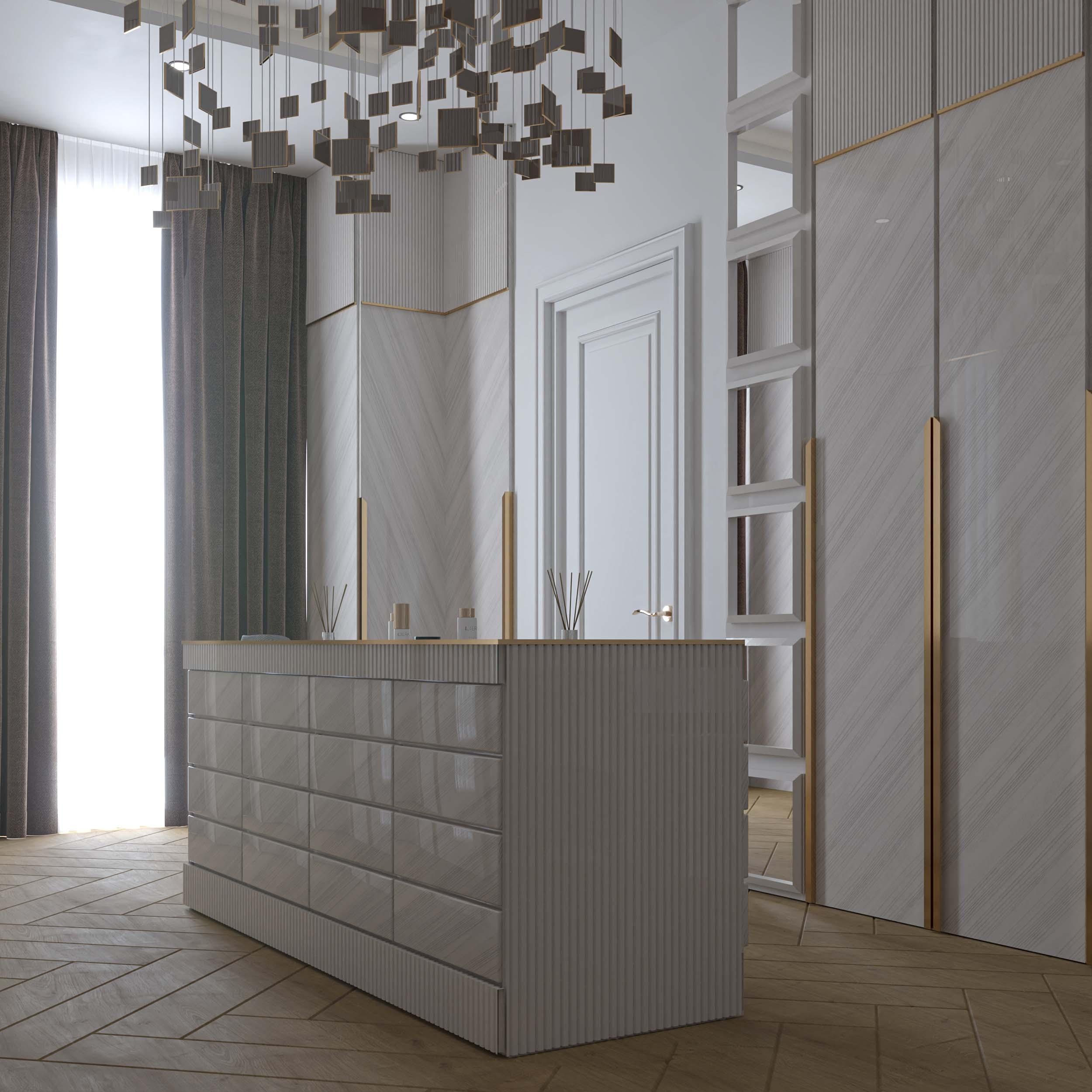 dressing rooms designs - white color - golden touch - men dressing room