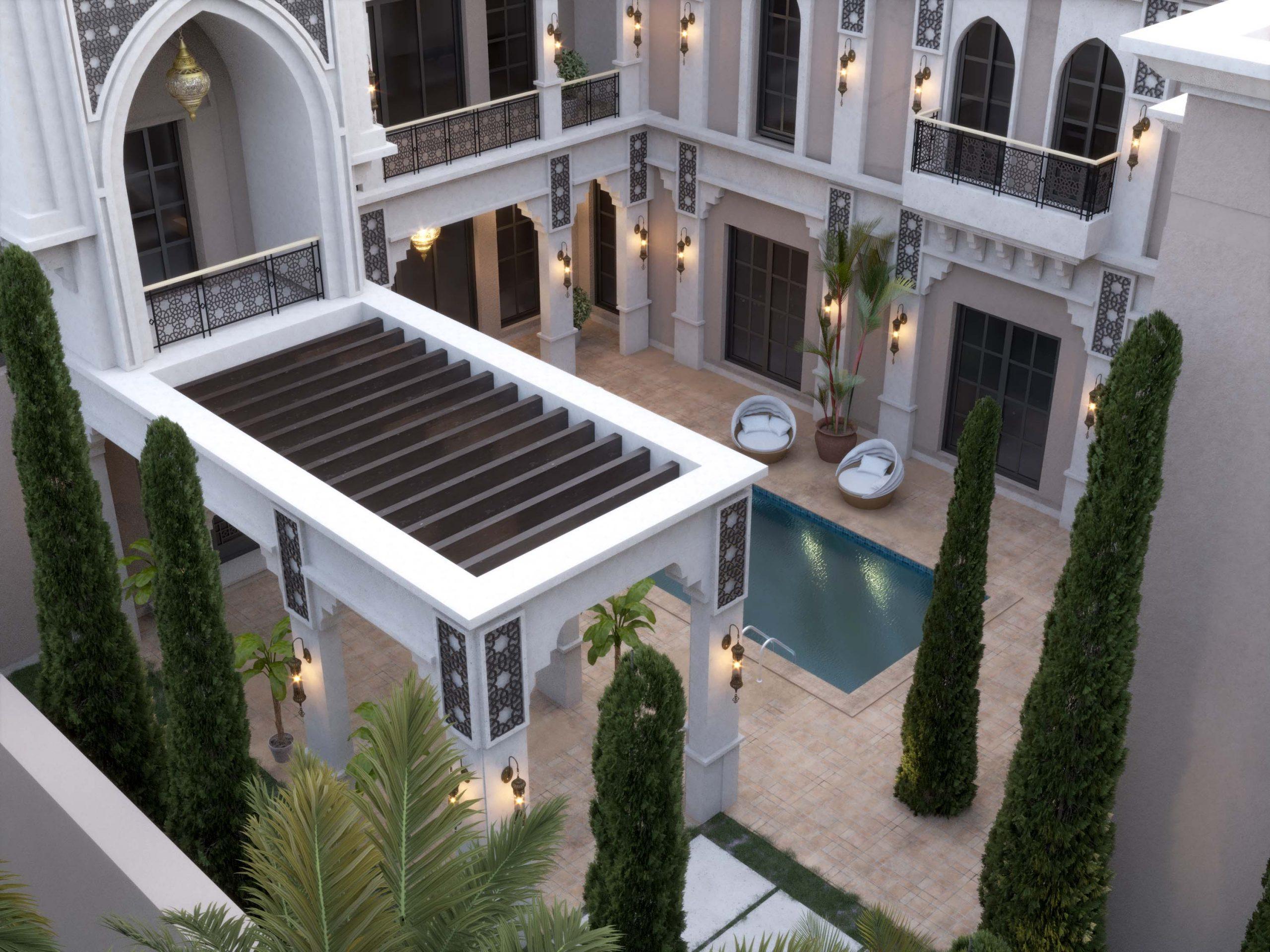 top view - swimming pool - wood - villa design