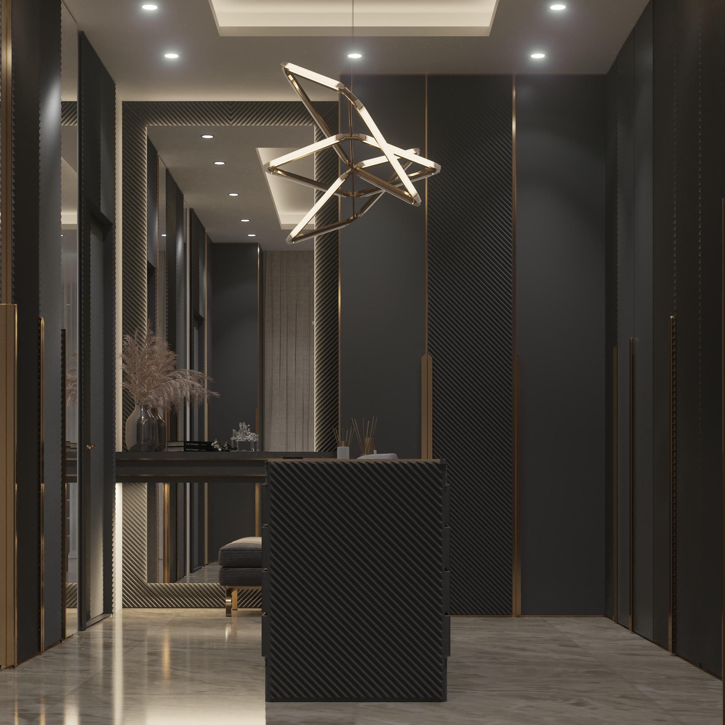 black dressing room - luxury style