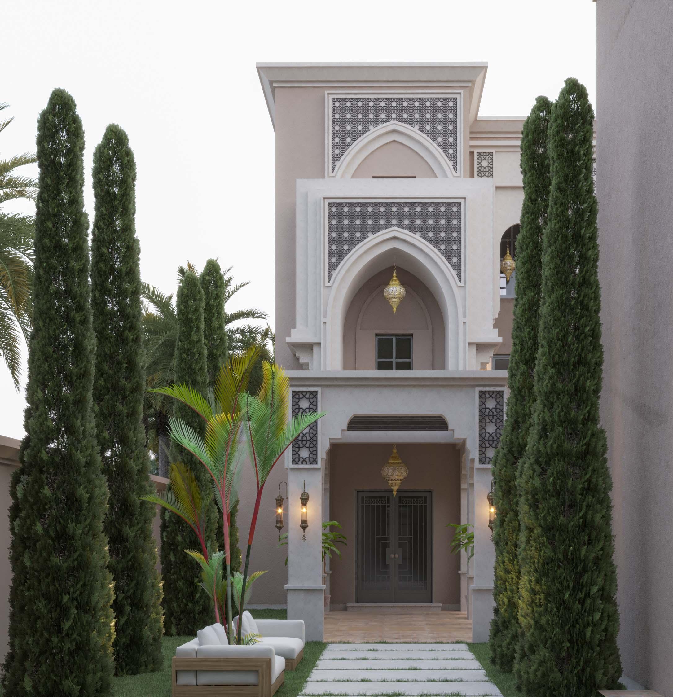 ISLAMIC STYLE VILLA - entrance - garden - sky - floors - path