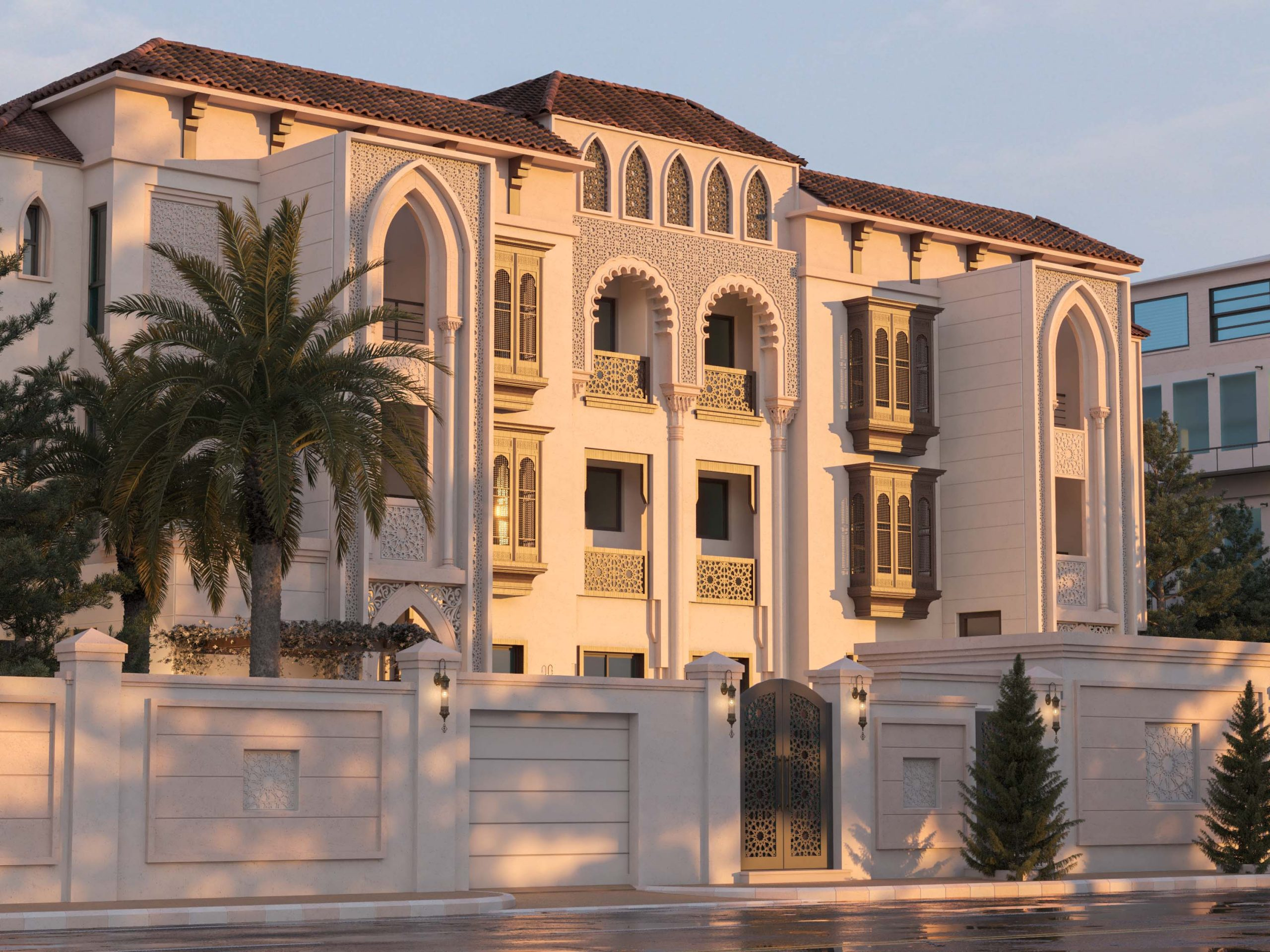 ANDALUSIAN EXTERIOR DESIGN - FULL VIEW - ISLAMIC DETAILS - SKY
