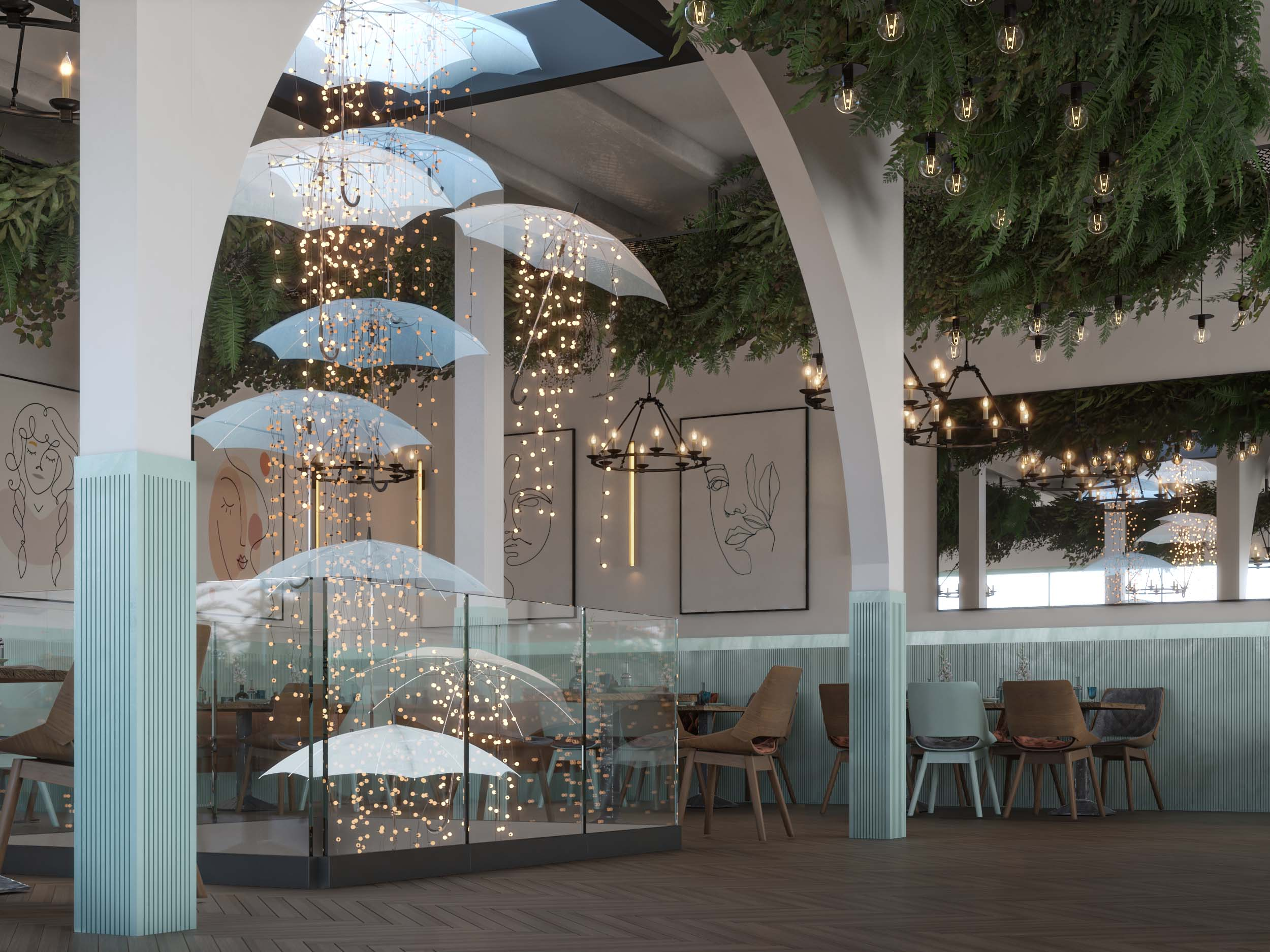 AMERICAN CAFE DESIGN -UMBRELLAS DESIGN - LIGHT WORK