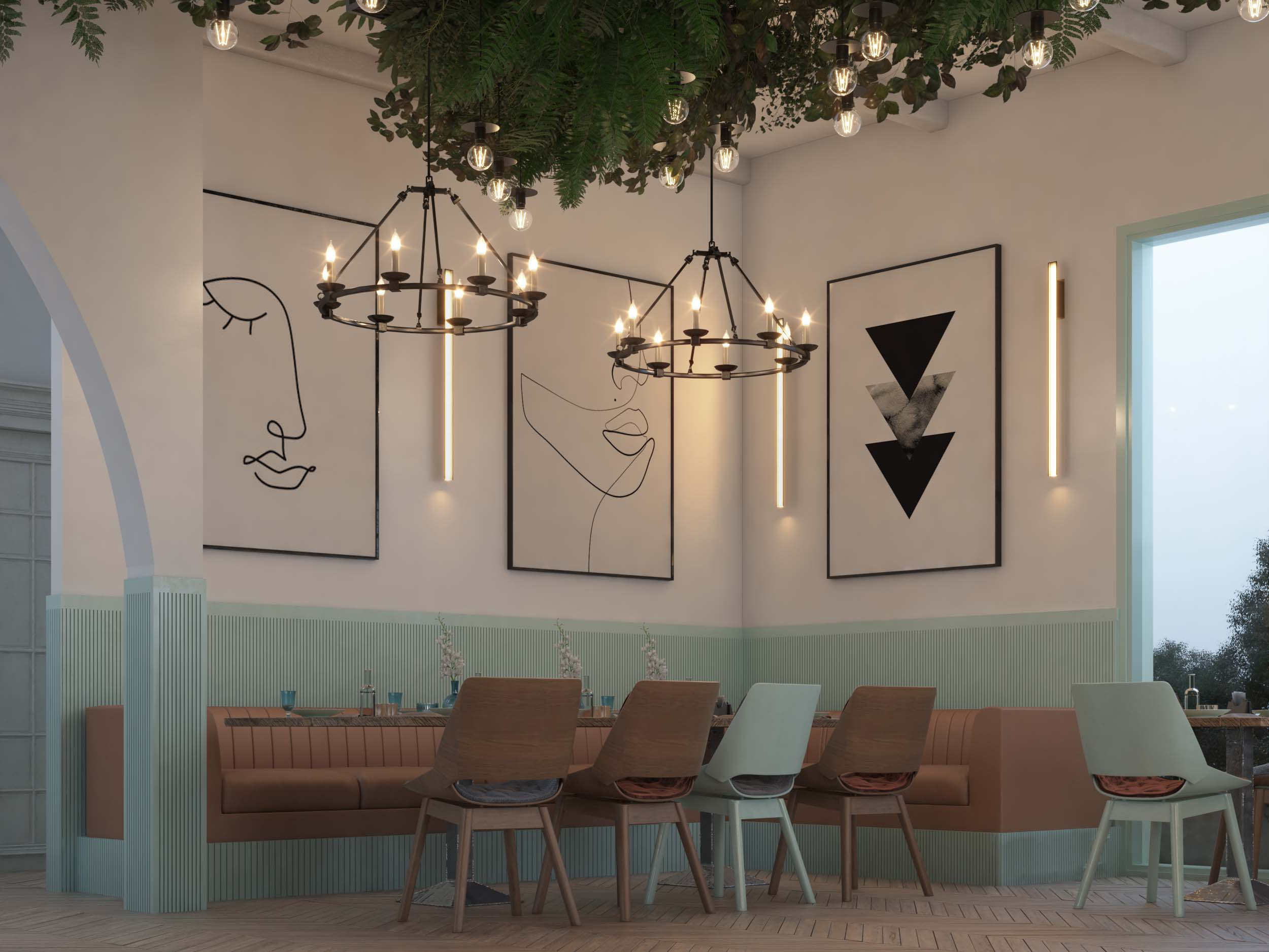 AMERICAN CAFE DESIGN- PAINTING DESIGN - LIGHT WORK- OLD STYLE
