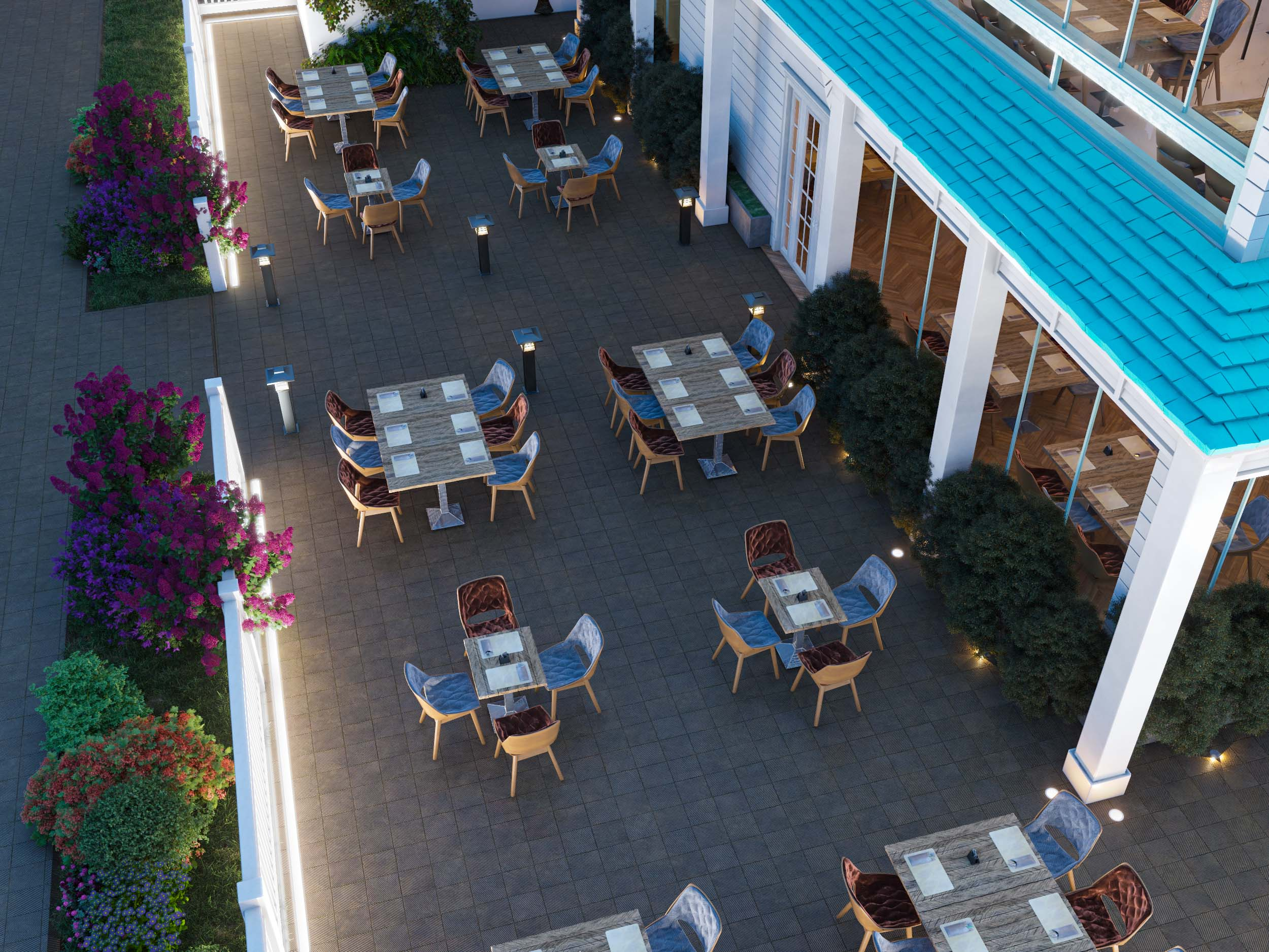 CAFE DESIGN BY HRarchZ -OUTSIDE AREA- TURQUOISE