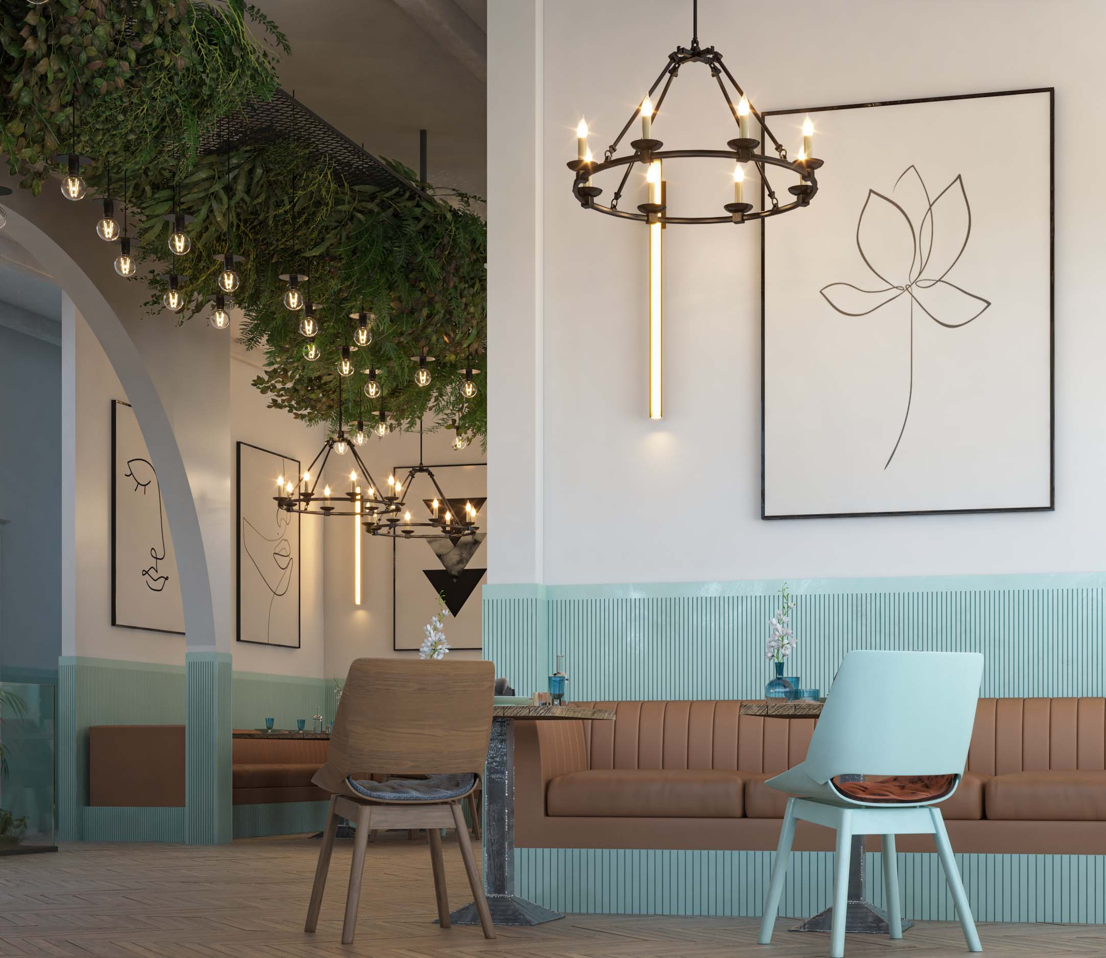 AMERICAN CAFE DESIGN -CAFE DESIGN BY HRarchZ - BROWN SOFA DESIGN -LIGHT - TURUQUOISE