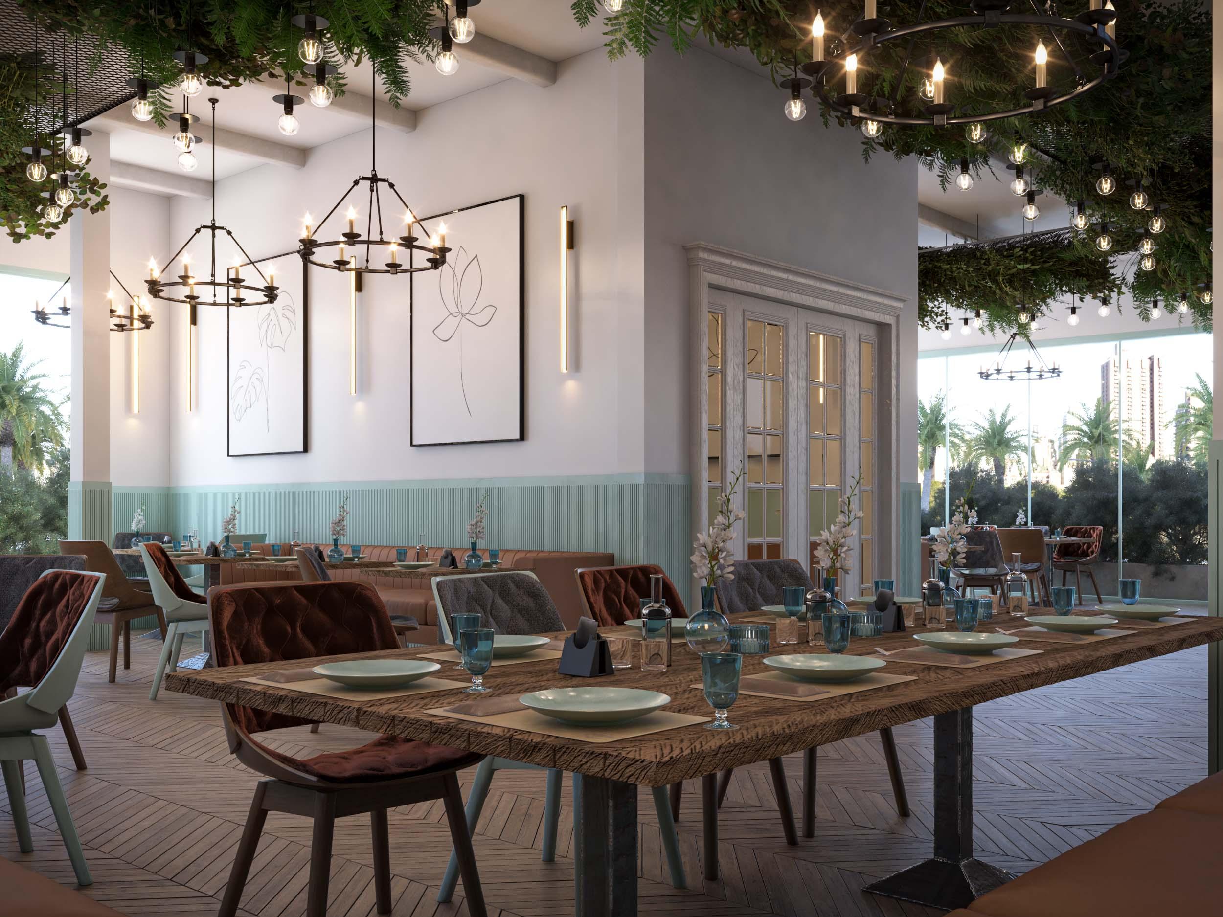 TABLE - CHAIRS - RETAURANT - PLANTS