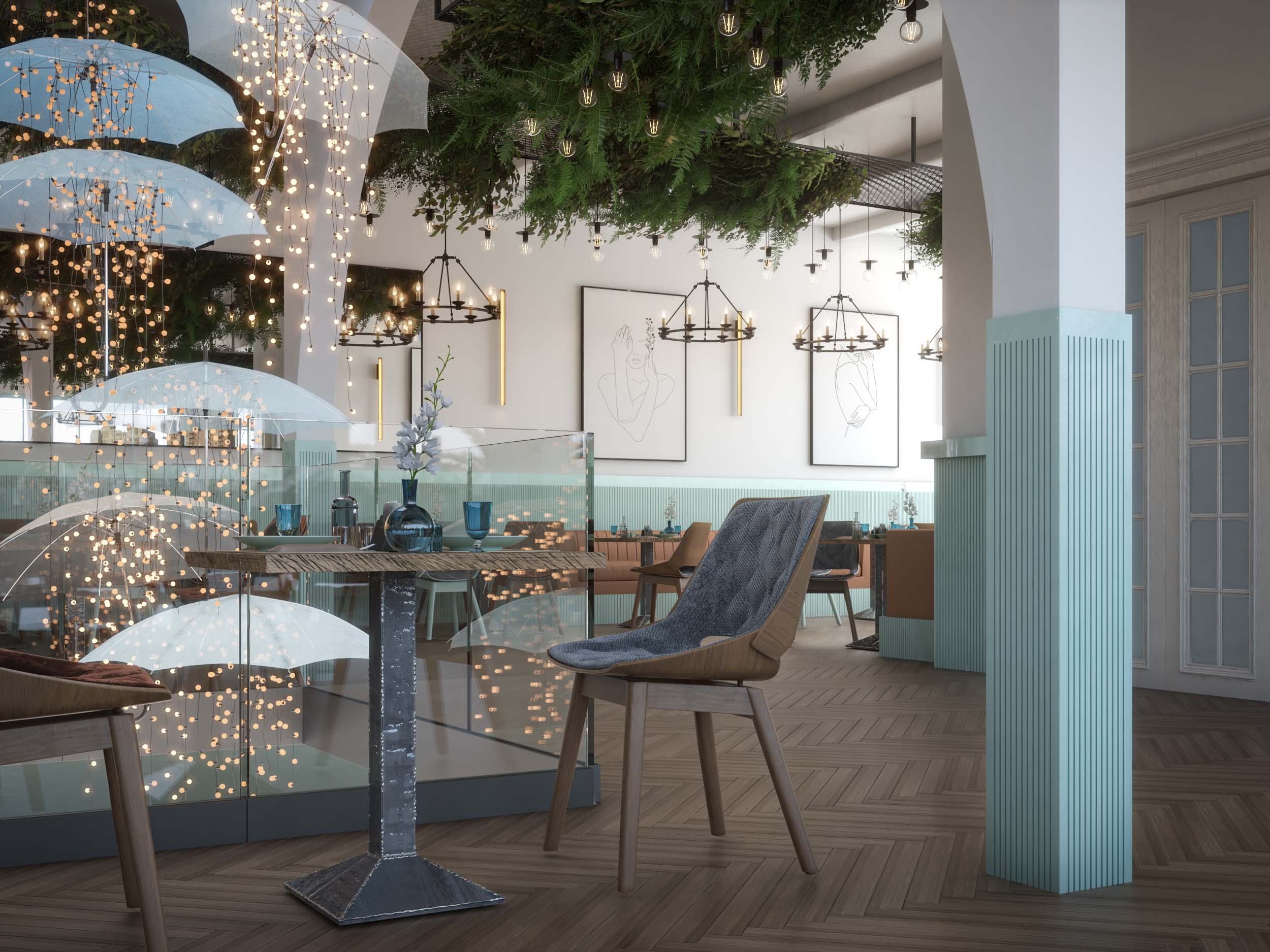 AMERICAN CAFE DESIGN -CAFE DESIGN BY HRarchZ - UMBRELLAS AND LIGHTS-