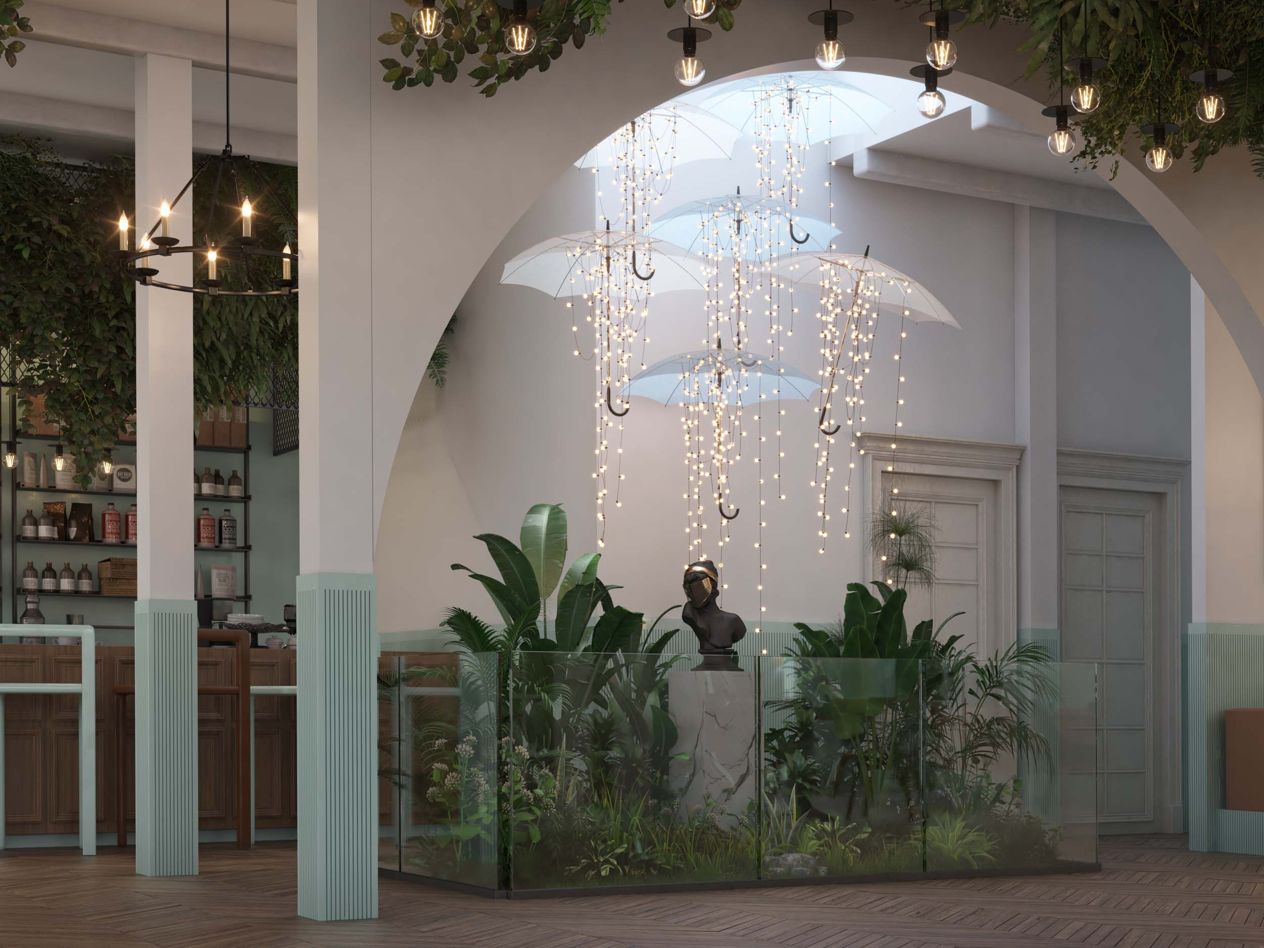 AMERICAN CAFE DESIGN -CAFE DESIGN BY HRarchZ  - UMBRELLA DESIGN- UMBRELLA LIGHT