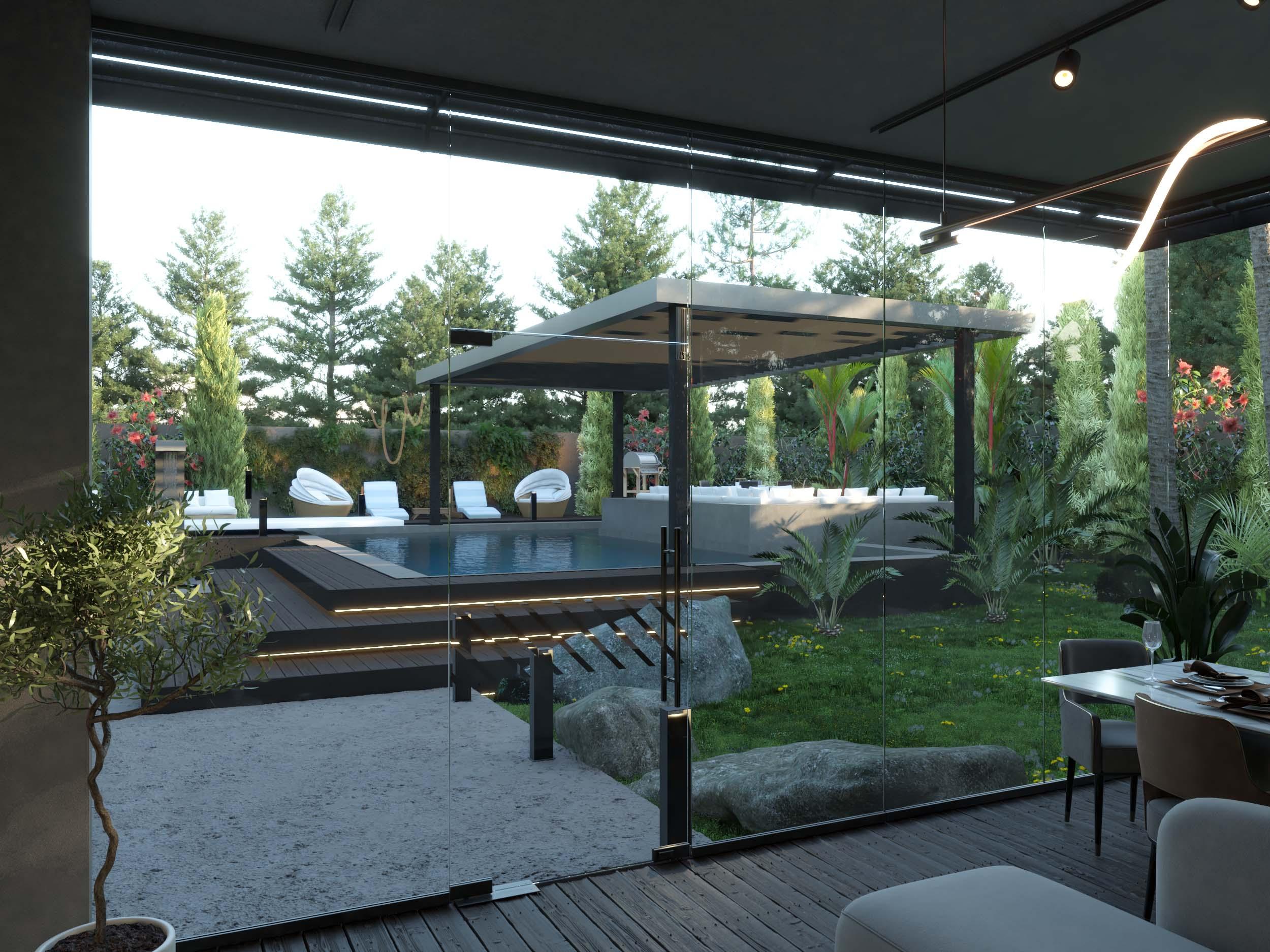 sala - sitting area- view on swimming pool