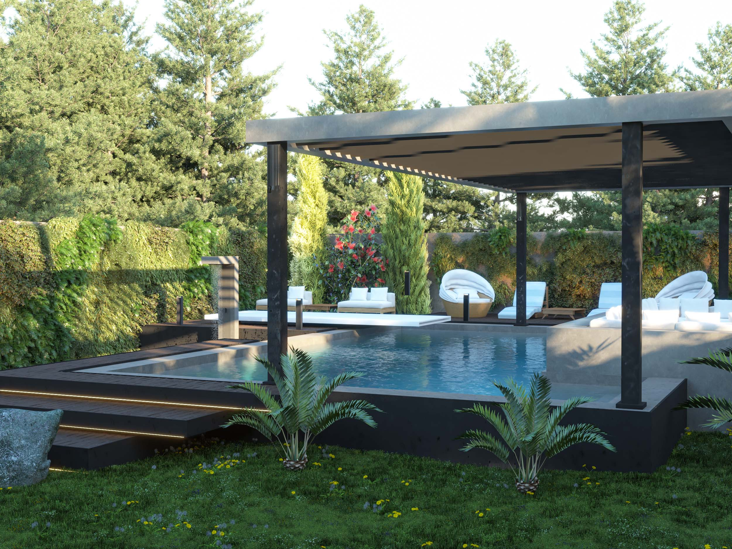 SWIMMING POOL AREA DESIGN- shower area - shower - swimming pool - garden