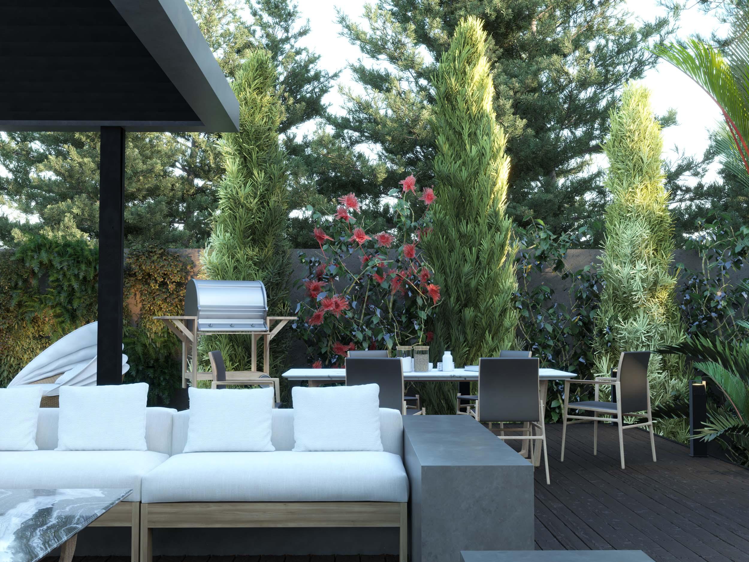 dining area - garden design - landscape - sitting area