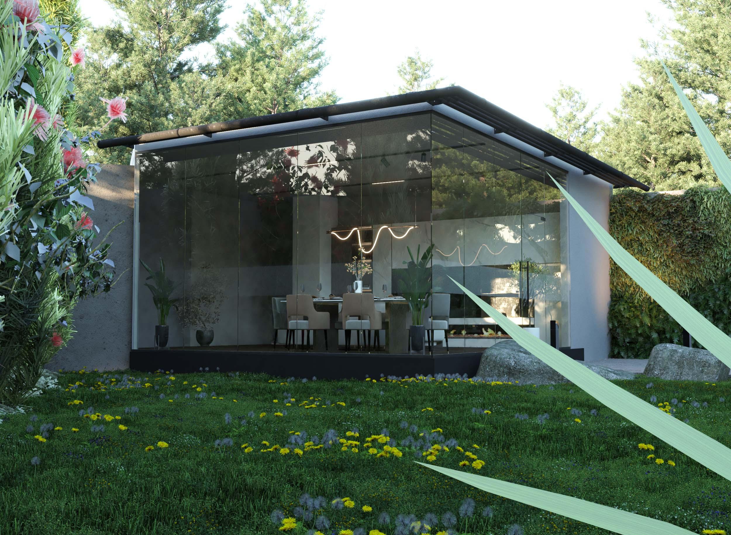 living area - sala - glass wall -