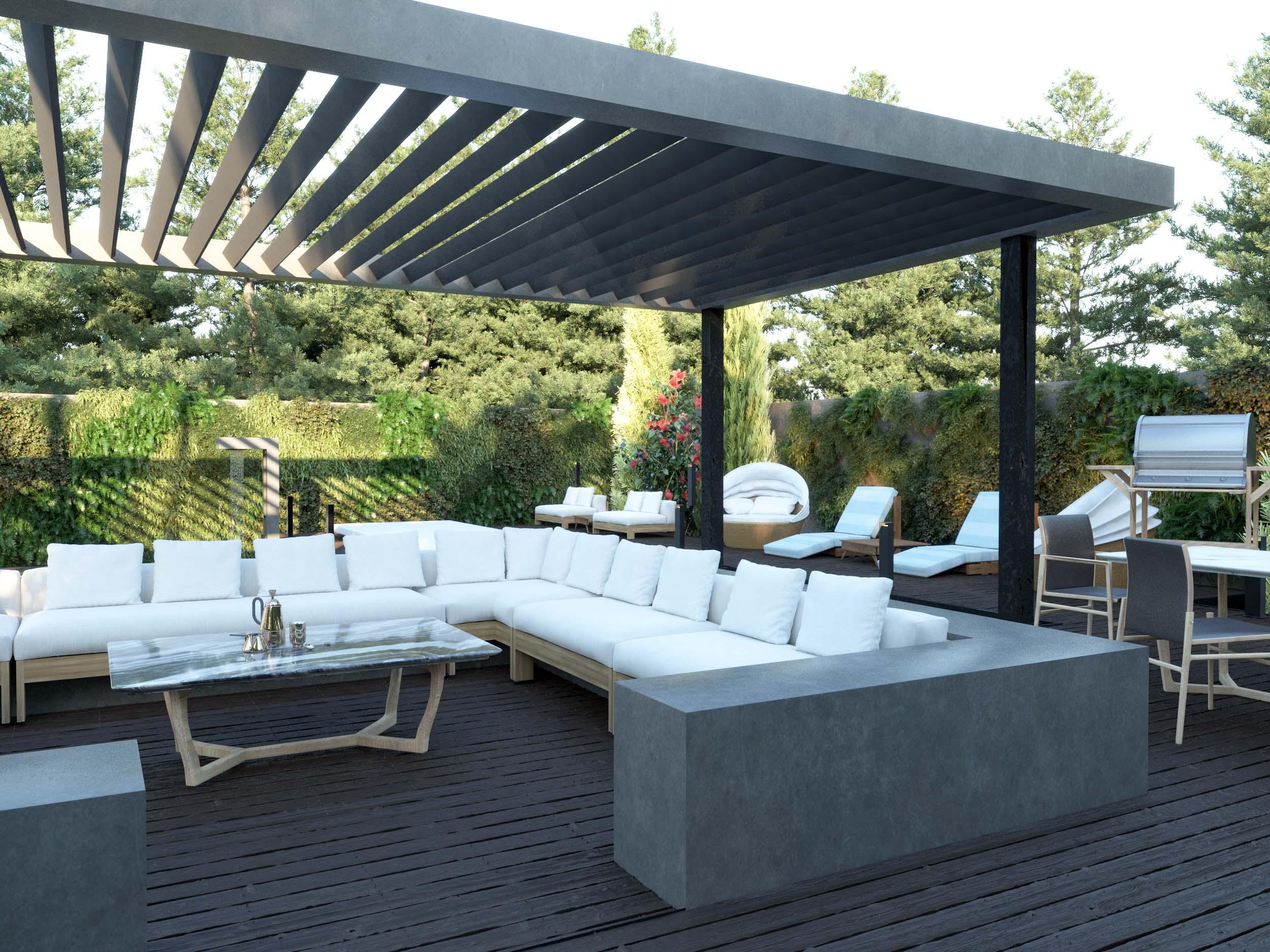 sitting area - garden - water - sun shading - roof design