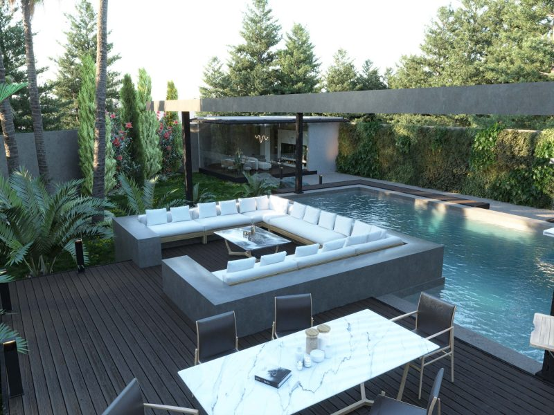 SWIMMING POOL AREA DESIGN - sitting area - water - dining area