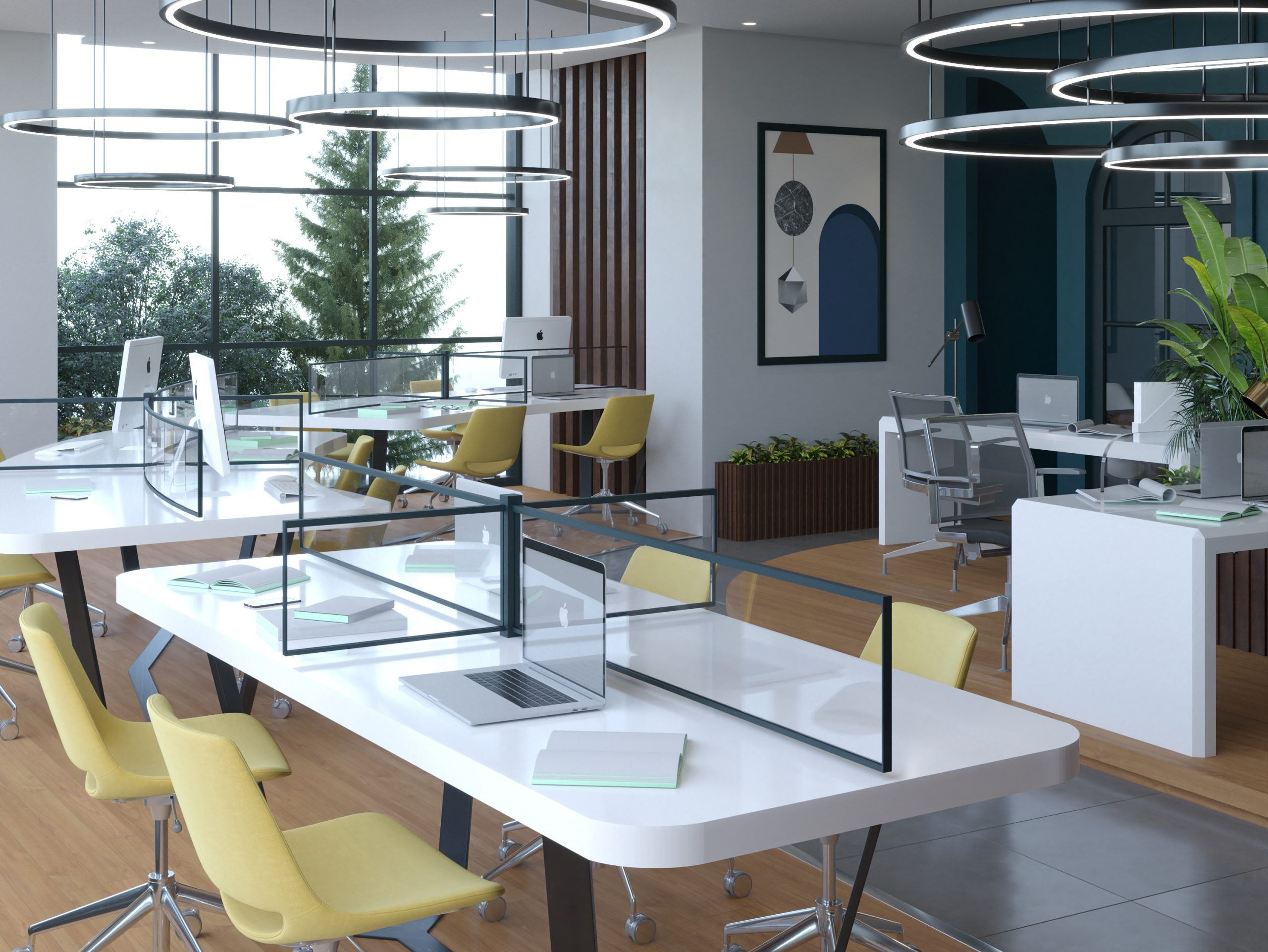 OFFICES - WOOD - STRIPS - PLANTS - DECORATION