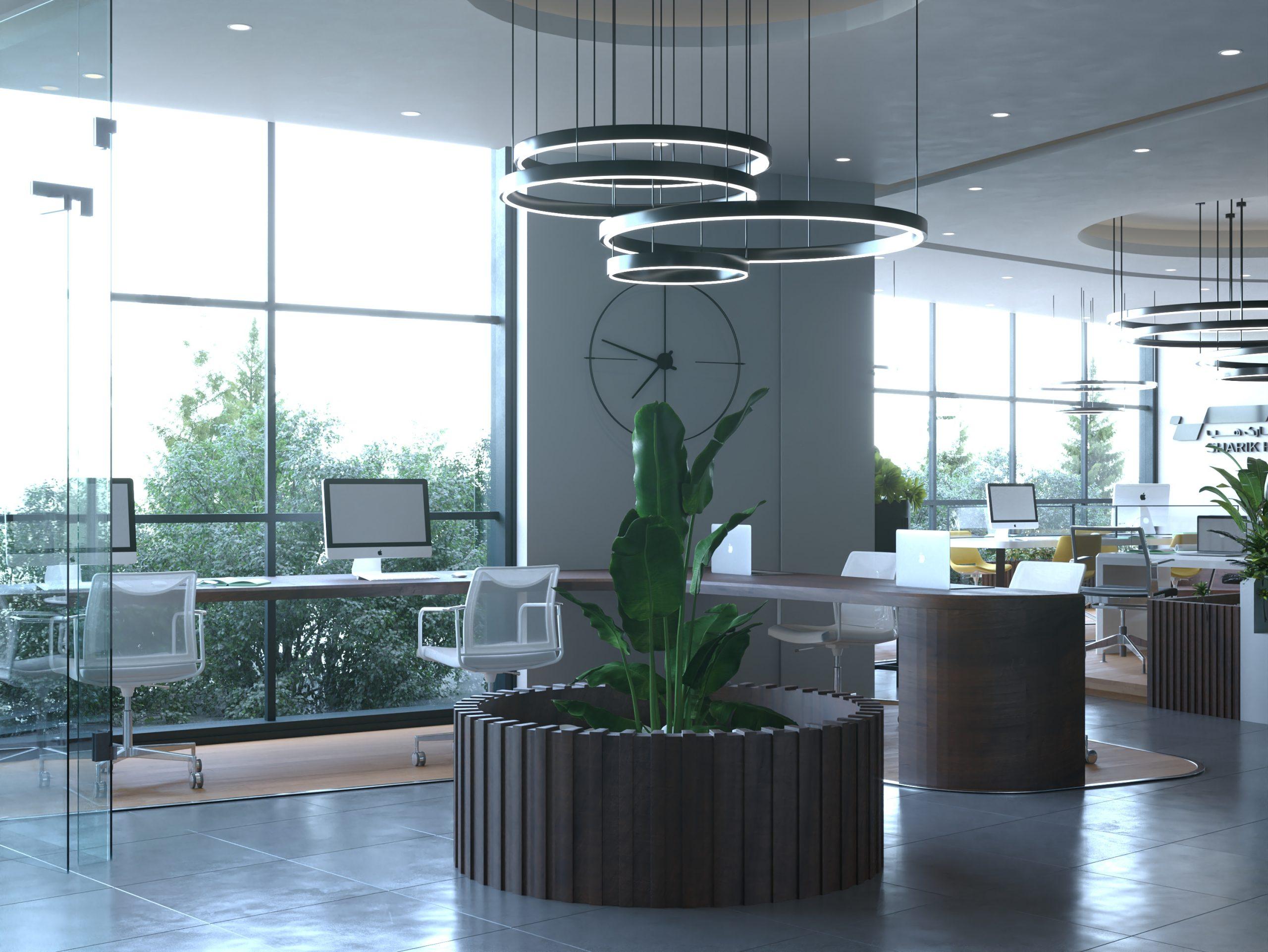 SHARIK HUB COMPANY DESIGN - SUN LIGHT - PLANTS - BIG WINDOW - DECORATION - LABTOP