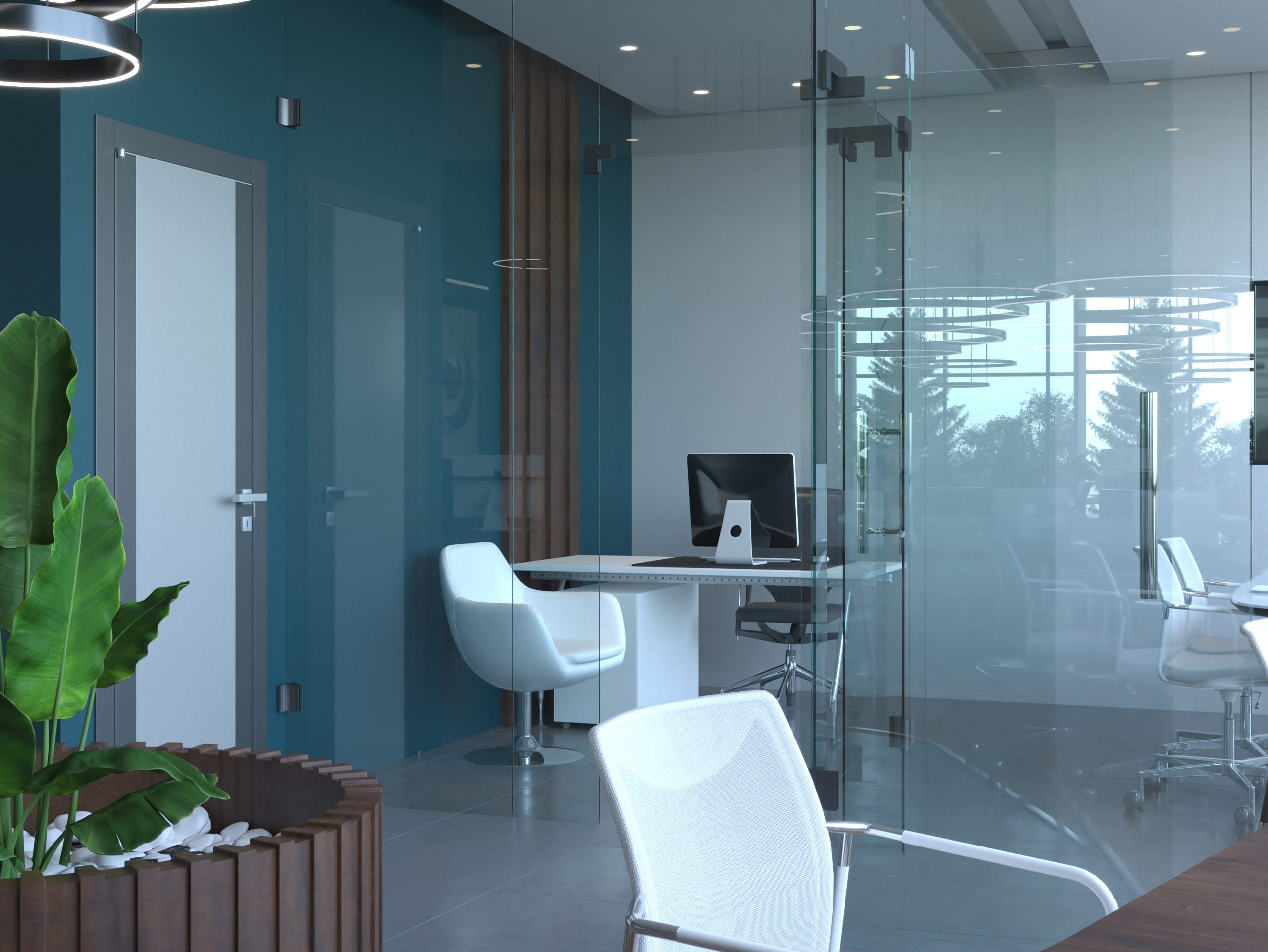 OFFICE DECORATION - WOODEN STRIPS  - GLASS WALLS